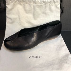 Celine Black Peep-toe Ballet Flats size 36.5